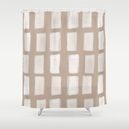 Brush Strokes Vertical Lines Off White on Nude Shower Curtain