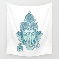 ganesha Wall Tapestries featuring Ganesha by Hipster's Wonderland