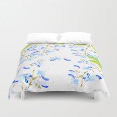 blue butterfly flowers arrangement watercolor Duvet Cover