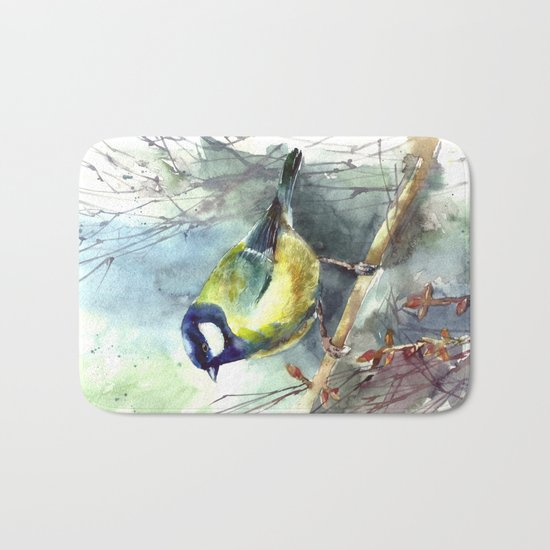 Watercolor aquarelle titmouse bird Bath Mat