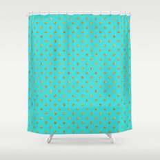 Gold glitter polka dots on turquoise backround pattern Shower Curtain