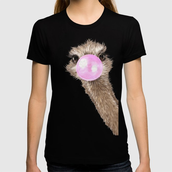 Sneaky Ostrich with Bubble Gum in Pink T-shirt