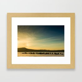 Ice Fishing on The Kennebecasis River Framed Art Print