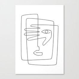 Square Face One Line Art Canvas Print