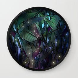 Nocturne with Fireflies Wall Clock