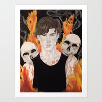 stephen king Art Prints featuring Stephen by Alice Rachel