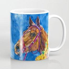 Secretariat Painting, Large Race Horse Watercolor Art Coffee Mug