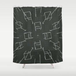 over lined Shower Curtain