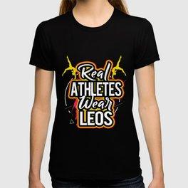 Gymnastics Real Athletes Wear Leos Leotard Gymnast T-shirt