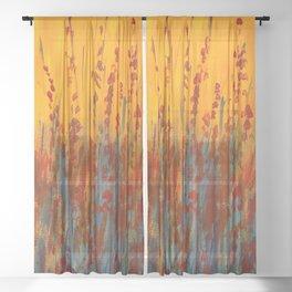 Wildflower Field Acrylic Painting Sheer Curtain