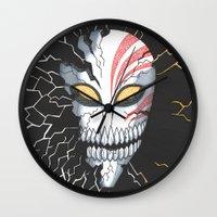 bleach Wall Clocks featuring Bleach Hollow Mask by MadameAce