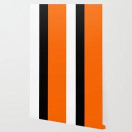 Modern White Black Orange Colorblock Wallpaper
