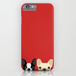 Boston Terrier & Cream French Bulldog RED iPhone Case