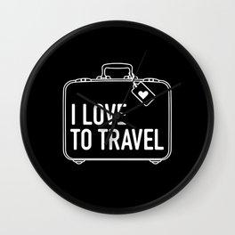 I Love To Travel Wall Clock