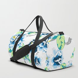 Chinoiserie Ming style Blue Floral on White Pattern Spring Flowers Shabby Chic Duffle Bag