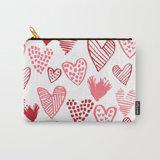 Hearts red and white hand drawn minimal modern fun valentines day gifts Carry-All Pouch