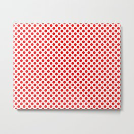Polka Dot Red and White Pattern Metal Print