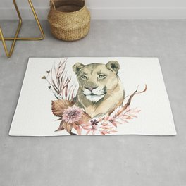 Savanna lion with rustic floral accent Rug