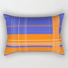 Orange and Blue Plaid Rectangular Pillow