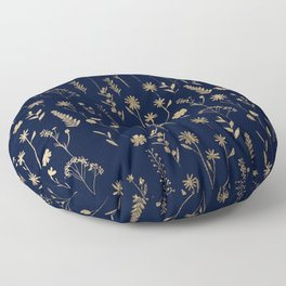 Hand drawn gold cute dried pressed flowers illustration navy blue Floor Pillow