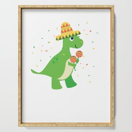 Cute T-Rex With Sombrero Maraca Cinco De Mayo Serving Tray