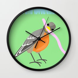 The Bird Gets the Worm Wall Clock