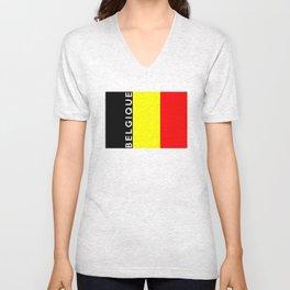 belgium country flag belgique name text Unisex V-Neck