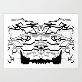 Artistic bat in the darkness , Abstract, art, Gray, black,  graffity, points, bat Art Print