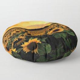Sunflower field Floor Pillow