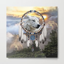 Wolf, Bear and Dream Catcher Metal Print