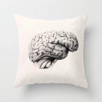 brain Throw Pillows featuring Brain by Andreas Derebucha