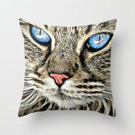 BLUE-EYED CAT Throw Pillow