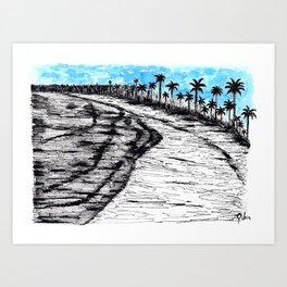 A quiet beach where my heart is Art Print