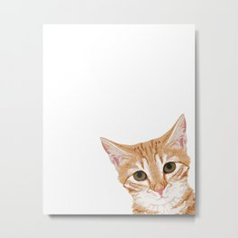 Peeking Orange Tabby Cat - cute funny cat meme for cat ladies cat people Metal Print