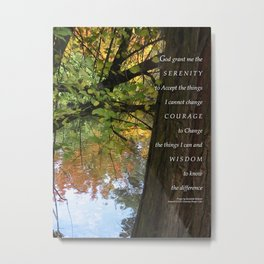 Serenity Prayer Tree Pond Autumn Metal Print