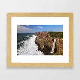 Waterfall into the seaside Framed Art Print