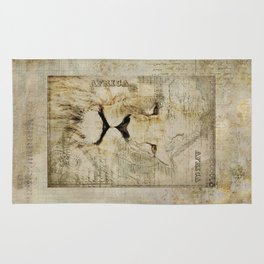 Lion Vintage Africa old Map illustration Rug