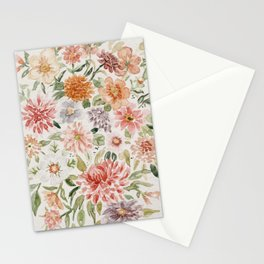 Loose Peachy Dahlia Watercolor Bouquet Stationery Cards