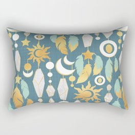 Bohemian spirit // dark turquoise background Rectangular Pillow