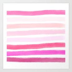 Modern pink ombre handdrawn brushstrokes stripes pattern Art Print