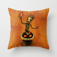 groot Throw Pillows featuring Groot by Anna Shell