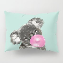 Playful Koala Bear with Bubble Gum in Green Pillow Sham