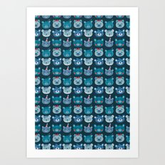 Cute Bear Faces Pattern Art Print