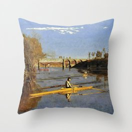 The Champion Single Sculls, Max Schmitt in a Single Scull - Digital Remastered Edition Throw Pillow