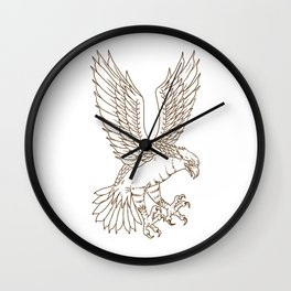 Osprey Swooping Drawing Wall Clock