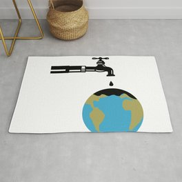 Faucet Dripping Water on Globe Retro Rug