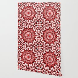 Red and White Kaleidoscope Wallpaper