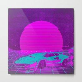 Cyberpunk Car Digital Illustration Metal Print