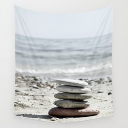 Balancing Stones On The Beach Wall Tapestry