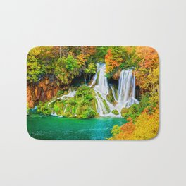 Waterfall and Lake in Autumn Forest Bath Mat